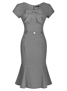 Miusol Womens Vintage Houndstooth-Print Bow Slim Retro Evening Dress Miusol www Cute Dresses, Vintage Dresses, Vintage Outfits, Vintage Fashion, Short Sleeve Dresses, Dresses For Work, 1950s Fashion, Vintage Clothing, Fishtail Dress
