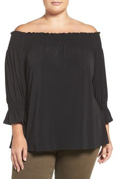 Sejour Smocked Off the Shoulder Top (Plus Size) available at #Nordstrom
