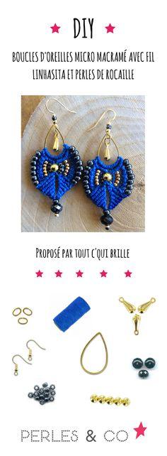 Macramé micro earrings with Linhasita yarn and seed beads Macrame Jewelry, Macrame Bracelets, Ethnic Jewelry, Diy Jewelry, Earring Tutorial, Bracelet Tutorial, Micro Macramé, Gifts For Photographers, Diy Necklace