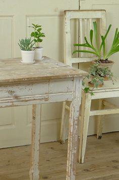 アンティーク ウッドデスク(グレーホワイト) French Vintage Shabby Table