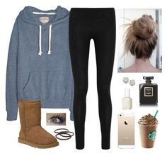 """""""Untitled #997"""" by noellexox ❤ liked on Polyvore featuring Donna Karan, UGG Australia, Auriya, Goody, Chanel and Essie"""