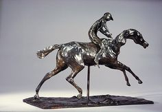 Edgar Degas (French, 1834–1917). Horse with Jockey; Horse Galloping on the Right Foot, the Back Left Foot Only Touching the Ground, possibly modeled before 1871, cast in 1920. The Metropolitan Museum of Art, New York. H.O. Havemeyer Collection, Bequest of Mrs. H.O. Havemeyer, 1929 (29.100.437a, b) #horses