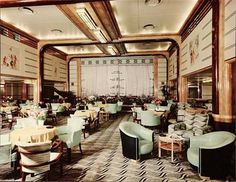 "thats-the-way-it-was: ""RMS Queen Mary, Tourist Lounge - 1935 Photo: Stewart Bale Ltd."