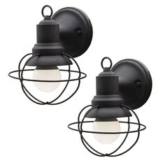 Add industrial-inspired vintage styling to your home's exterior with this 2-pack of outdoor wall lights. This outdoor fixture will add instant character to your front porch or garage with its caged metal wires and matte black finish. The clear glass shade lets out plenty of light to brighten up your home's landscape. Each lantern uses one standard 60W G25 bulb (not included). All installation instructions and mounting hardware is included.