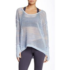 Soybu Active Gigi Pullover ($36) ❤ liked on Polyvore featuring tops, sweaters, skylark, boatneck sweater, blue sweater, open-stitch sweater, long sleeve pullover sweater and long sleeve sweaters