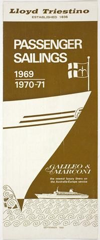 Leaflet Insert - Lloyd Triestino Line, Amendments to the September Sailing List
