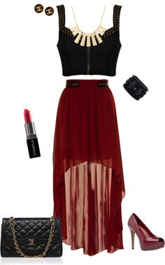 """Edgy Outfit - Cropped Top and Maxi skirt"" by stylelover10 on Polyvore"