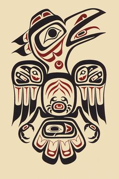 Raven and its companions? A beautiful Tribal art piece depicting the Joker or prankster.