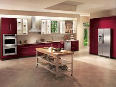 Modern red kitchen cabinetry!