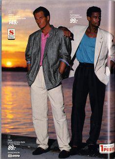 Miami Vice Look mit Schulterpolster und Sonnenbankgrill aus den 80ern