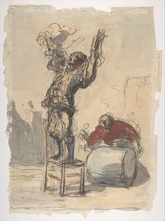 Honoré Daumier - Street Show (Paillasse) (recto); a clown playing a drum (verso)
