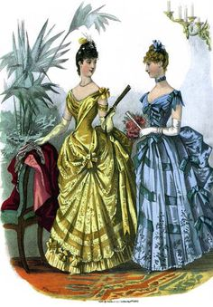 Ball gowns, 1886, La Mode Illustree. Had to save because they remind me of 1880's Belle and Cinderella.