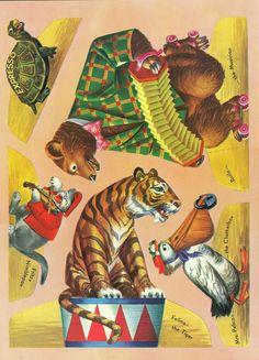 Circus Push Outs 1953 - Bobe Green - Picasa Web Albums Circus Crafts, Circus Art, Circus Theme, Cirque Vintage, Vintage Circus Posters, Bobe, Big Top, Vintage Paper Dolls, Expo