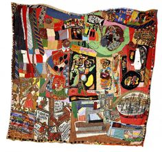 Aminah Robinson, Poindexter Village Quilt, 1966 to 1984 RagGonNon with buttons, beads, cowrie shells, thread, wool, rags and cloth 96 in x 104 in