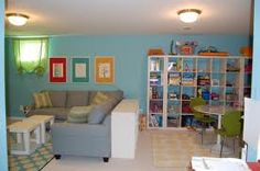 Split playroom/ family room layout