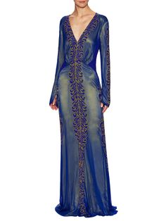 awesome Silk V-Neck Fully Beaded Gown