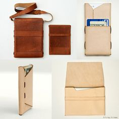 Threadless and Glueless, PACT Products Are Like Luxurious Leather Origami. – if it's hip, it's here Minimal Wallet, Minimalist Leather Wallet, Leather Pencil Case, Leather Pouch, Laser Cut Leather, Tan Leather, Leather Projects, Leather Crafts, Basket Bag