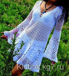 Crochetemoda: Vestido Branco de Crochet ~ Diagrams/Charts ~ Not in English Beau Crochet, Pull Crochet, Mode Crochet, Irish Crochet, Crochet Skirts, Crochet Tunic, Crochet Clothes, Crochet Lace, Crochet Tops