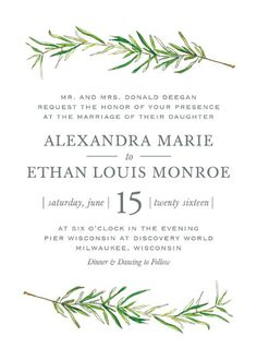 """Simple Sprigs"" - Wedding Invitations in Fern by Erin Deegan. With navy envelopes"