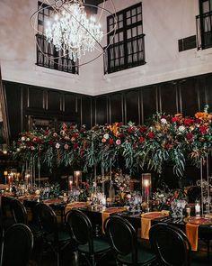 moody pallet @ Ebell Long Beach, CA Wedding Centerpieces, Wedding Table, Fall Wedding, Dream Wedding, Wedding Decorations, Black Tablecloth Wedding, Floral Centerpieces, Wedding Reception, Alternative Wedding Theme