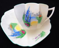 SHELLEY-QUEEN-ANNE-Delphinium-BUTTERFLY-TEA-CUP-AND-SAUCER