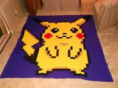 Pikachu Pokemon pixel crochet blanket by dnjCrochet