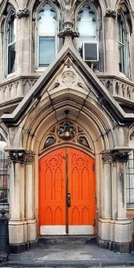 Orange church doors lovely art