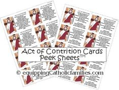 Act of Contrition Peek Sheets Printable