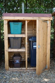 Hide your recycling with a timber bin store Neat, compact and beautifully made – a Somerlap timber bin store is the perfect solution to disguising unslightly recycling or wheelie bin Recycling Bin Storage, Garbage Recycling, Recycling Station, Recycling Containers, Garbage Shed, Garbage Storage, Shed Storage, Storage Bins, Backyard Storage