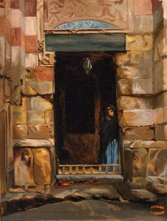 Arab Woman in a Doorway (oil sketch) (Jean-Léon Gérôme - ) Owner/Location:	Los Angeles County Museum of Art  (United States - Los Angeles, California)      Dates:	Date unknown Dimensions:	Height: 33.66 cm (13.25 in.), Width: 26.04 cm (10.25 in.) Medium:	Painting - oil on canvas