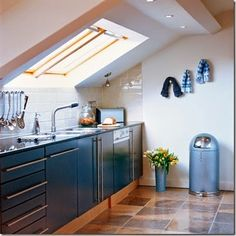 slanted ceiling in a kitchen