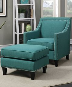 Emery Navy Blue Accent Chair with Ottoman Furniture Pinterest