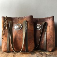 Vintage leather mini totes.  In the web store: www.jaugurdesign