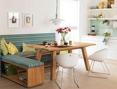 Sofá com mesa de jantar para espaços pequenos