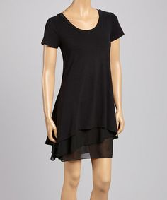 Another great find on #zulily! Black Chiffon Cap Sleeve Dress by JANA #zulilyfinds