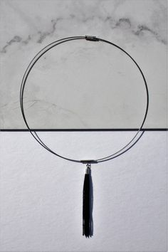 Tassel Choker Necklace, by . handmade jewelry on Esty Long Tassel Earrings, Tassel Jewelry, Bar Earrings, Boho Necklace, 90s Grunge, Black Grunge, Trendy Fashion Jewelry, Fashion Jewelry Necklaces, Geometric Necklace