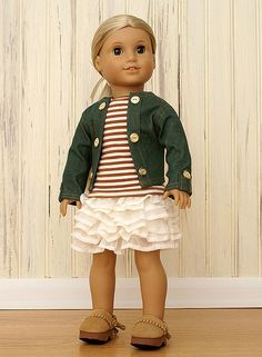 love the skirt + striped top ~ American Girl Doll Clothes-Cream Ruffles