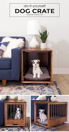 How to Build a Dog Crate That Doubles as an End-Table (Picture Tutorial) Mid-Century Modern Dog Crate and End-Table Tutorial via Jocie @ One Project Closer Dog Crate End Table, Diy Dog Crate, Dog Kennel End Table, Wood Dog Crate, Puppy Crate, Dog Crate Beds, End Table Dog Bed, Pet Crates, Wood Dog Bed