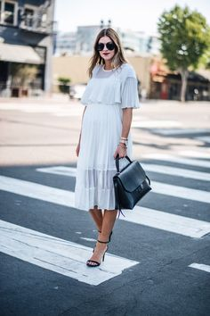White denim summer outfit idea, black ankle heels, maternity outfit