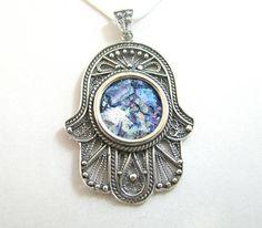 Yemenite Silver Roman Glass Filigree Hamsa Pendant