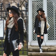 herbst outfit chucks hose used look hut blazer jacke Outfit Damen hut Outfits Chucks, Outfits With Hats, Mode Outfits, Casual Outfits, Jeans Et Converse, Converse Style, Converse Sneakers, Winter Trends 2016, Kinds Of Clothes