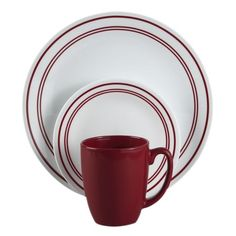 #Corelle Livingware™ Classic Café® Red 16-Pc Dinnerware Set - this pattern brings out a vintage/Americana feeling with the charm of an old time diner.