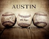 Love this Personalized Print from ETSY they'll put whatever name you want on it in whatever size you want.    PERSONALIZED with your Name Vintage Baseballs  8x10 print, Boys Room, Wall Decor, Wall Art,  Man Cave,Boys Nursery Ideas, Gift Ideas,