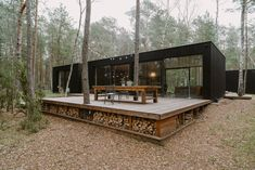Small contemporary home or cabin. Note large deck with storage under for firewoo… - Modern Tiny House Cabin, Tiny House Living, Tiny House Design, Contener House, Long House, Forest House, House In The Woods, Building A House, House Plans
