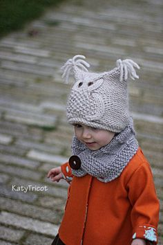 Owl Hat Knitting Pattern Chouette Toddler Child door KatyTricot