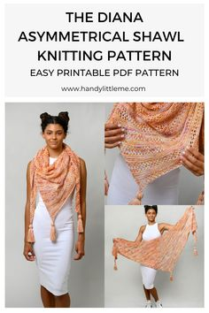 Asymmetrical Shawl Knitting Pattern. This shawl is an asymmetrical triangle shawl knit from one end to the other. Asymmetrical shawls are triangle shawls that are off-center. One end of the shawl will be much longer than the other. #shawlpattern #shawlknitting #knitshawl #knittedshawl #knitting Knitted Dog Sweater Pattern, Free Knitting Patterns For Women, How To Start Knitting, Knitted Shawls, Shawls And Wraps, Knitting Projects, Knitting Socks, Triangle, Embroidery