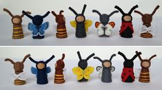Bees, bugs and butterflies: Waldorf inspired tiny pegdolls in embroidered felt clothes by TinyFairyWorlds