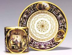 A SEVRES PURPLE-GROUND CUP AND SAUCER (GOBELET 'LITRON' ET SOUCOUPE, 1ERE GRANDEUR) BLUE INTERLACED L'S ABOVE DATE LETTERS BB FOR 1779 TO BOTH, THE CUP INCISED 3C, THE SAUCER INCISED 43
