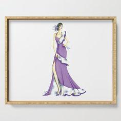 #ServingTray #Tray #violet #purple #fashionIllustration #girl #homedecor #society6 #Gift #GiftIdeas