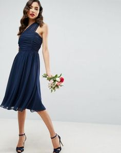 ASOS Chiffon Ruched One Shoulder Midi Dress
